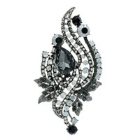 gelin broşları toptan satış-Rhinestone Kristaller Yapraklar Düğün Gelin Broş Pin Broş Broş Kadınlar Takı Aksesuarları 8807BLA
