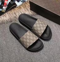 düz kedi ayakkabısı toptan satış-2019 Popüler erkek kadın Kauçuk Sandalet Renkli Rahat G G Baskı Kaplan Yılan Arı Kedi Terlik Deri Düz Ayakkabı Flip Flop 35-45