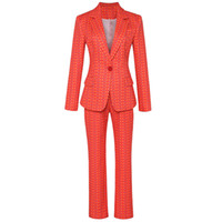 New Arrival Runway Pant Suit For Women Single Button Flora Printed Blazer and Long Pants Slim Fashion Womens Two Sets Suits 761