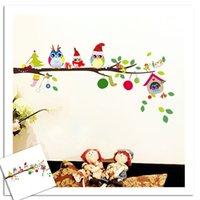 hibou branche murale achat en gros de-KIWARM 1 Pc DIY Bande Dessinée De Noël Chouette Famille Branche Amovible PVC Sticker Mural Chambre Des Enfants Adhésif Sticker Mural Art Mural