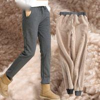 harém de veludo venda por atacado-Inverno Cashmere Harem Calças de Cashmere Calças De Pele De Cordeiro Das Mulheres de Veludo Grosso para As Mulheres de Inverno solto Causal Mulheres calças Quentes