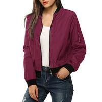 mulheres casacas acolchoadas venda por atacado-Denim das mulheres jaqueta curta das mulheres clássico acolchoado jaqueta vermelha curto feminino bombardeiro jaquetas quentes mulher plus size outwear