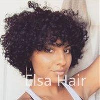 ingrosso capelli africa-Parrucche crespi ricci corti dei capelli umani per le donne nere Parrucche brasiliane di Remy dell'Africa America parrucche corte fatte a macchina dei capelli di Afro