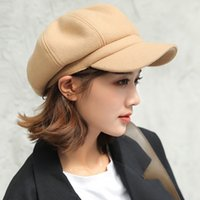 şık yün başlıkları toptan satış-Yün Kızlar Kadınlar Bere Sonbahar Kış Sekizgen Kap Şapka Şık Sanatçı Ressam Newsboy Siyah Gri Bere Şapka Caps