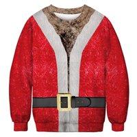 sudaderas de navidad para hombre al por mayor-Sudaderas con capucha de diseño de impresión 3D de Navidad Sudaderas con cuello en O para hombre Sudaderas con capucha de fiesta para mujer Tops Amantes Sudaderas rojas