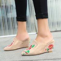 chaussures les plus fraîches achat en gros de-Sexy2019 chaussure femme cool pieds réglables pieds Baotou chaussures pour femmes forte pente de broderie avec chaussure volonté 40 41 42