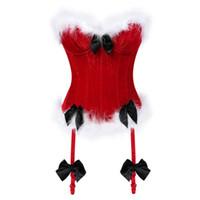 Wholesale christmas lingerie santa costume for sale - Group buy Women Sexy Christmas Costumes Santa Claus Corset Top Overbust Red Velvet Bustier Bodyshaper Lingerie Showgirl Clothing S XL