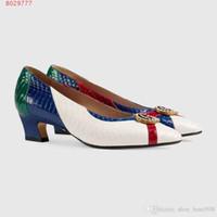 tacones personalizados para mujeres al por mayor-2019 nuevos zapatos de vestir para mujer estilo clásico Blanco y meihs Alta gama personalizados Alta gama impresos zapatos de tacón Moda delicada