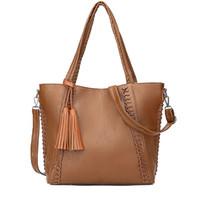 черная сумочка из кожи кисти оптовых-High Capacity Soft Leather Shoulder Bags Women Vintage Tassel Woven Handbags Designer Black Casual Big Tote Bag Bolsas Femininas