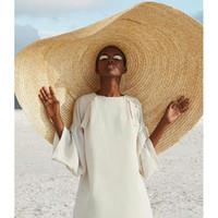 cubre sombrilla al por mayor-Mujer Moda Sombrero de Sol Grande Playa Anti-UV Protección Solar Sombrero de paja plegable Cubierta de gran tamaño Sombrilla plegable de playa sombrero de paja