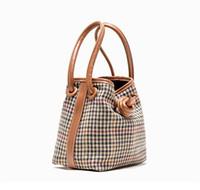 Wholesale design cloth handbags resale online - Designer Handbag Autumn and Winter Design Cloth Drawstring Button Bucket Bags Thousand Bird Pattern Simple Lamb Hair Bag Shoulder Bags