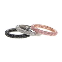 kırmızı zirkon nişan yüzüğü toptan satış-Renkli Taş Sıcak Tarzı Pembe Siyah Kırmızı beyaz Taşlar CZ Zirkon Nişan takı Eternity Kadınlar Band Düğün için Istifleme halkaları