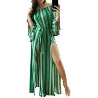 kapalı omuz bohem mini elbisesi toptan satış-Flare kol bohemian maxi elbiseler kadınlar kapalı omuz için yaz uzun plaj dress seksi backless ön yüksek bölünmüş maxi dress