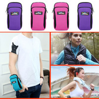 Wholesale arm band phone holder for sale - Group buy Waterproof niversal Phone Bag Double Pockets Sport Running Bags Arm Band Mobile Phone Pouch Bag Holder Arm Holder Case Pouch