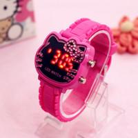 montres de filles mignonnes achat en gros de-Bonjour Kitty Mignon Enfants Montres Top Qualité Couleurs Mode Casual LED Femmes Montre-Bracelet Enfants Montre Numérique Cadeau Pour Filles Horloge Relog