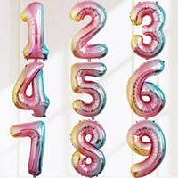 alüminyum numaraları toptan satış-32 INÇ Balon Mutlu Doğum Günü Ayıklayacaktır Kutlama Dekorasyon kademeli dairesel alüminyum Kaplama balon Numarası 0 Ila 9 LJJA2916
