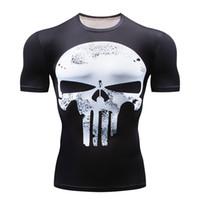 camisetas de futebol de manga curta venda por atacado-2018 Punisher 3D Homem T-shirt de Manga Curta Ginásio de Fitness Top Camisas de Futebol Compressão Em Execução Camisa Homens Sportswear Rashgard