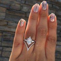 opal kristal halka toptan satış-Gem Elmas tasarımcı Yüzük Taç Altıgen Kristal Yüzükler Düğün Kadınlar için Parlak Opal Yüzük Moda Takı drop shipping