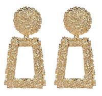 rodio plateado 925 plata diamante al por mayor-Oro Plata Declaración geométrica pendiente del metal del pendiente de gota colgante cuelga los pendientes de la vendimia grande de la manera de las mujeres joyería