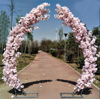 Wholesale led light for sale - Group buy 2 M artificial cherry blossom arch door road lead moon arch flower cherry arches shelf square decor for party wedding backdrop