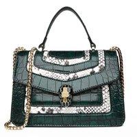 moda çanta mağazası toptan satış-Outlet marka kadın çanta bağbozumu kabartmalı timsah çanta zarif kontrast renk el omuz çantası moda timsah deri el çantası