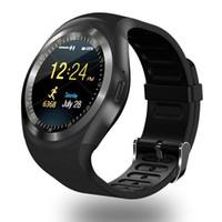 cep telefonuna dayanıklı toptan satış-Dijital Saatler Y1 Bluetooth Smart İzle Erkekler Bileklik Bilezik SIM kart Yuvası Ile android cep telefonları Için IPS Yuvarlak Suya Dayanıklı