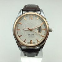 lista de marcas de relógios venda por atacado-Recém-listado de moda famosa marca mestre subiu homens de rosto de ouro de couro mecânico relógio movimento automático dos homens.
