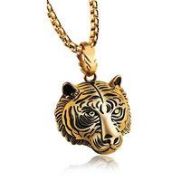 titan 14k gold halskette großhandel-Kühle tiger tier anhänger halskette antiken retro gold versilbert schmuck für männliche kinder jungen hochwertigen titanium stahl