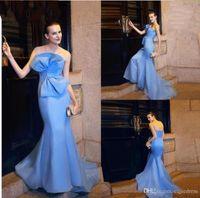 großes rotes licht großhandel-2019 neue Light Sky Blue Mermaid Abendkleider Trägerlosen Sweep Zug Big Bow Prom Kleider Günstige Roten Teppich Formelle Kleidung Vestidos De Fiesta