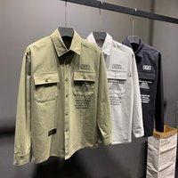 bolsillo de la camisa para hombre negro al por mayor-Mens del estilo Safari Patrón camisas de la manera de los hombres Camisa de doble bolsillo Negro Otoño Gris Verde Hombres de manga larga