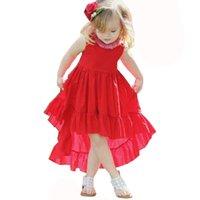 ropa playa roja al por mayor-Vestido sin mangas rojo de la muchacha del chaleco irregular Vestido de los niños para la ropa de las muchachas Summer Beach party Princess Kids Clothes
