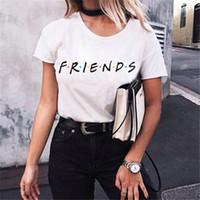 melhor camisa da menina da forma venda por atacado-Novas Mulheres T Shirt 2019 Moda Menina Casual Manga Curta Tee Top Verão Simples Melhor Amigo BTS T Shirt Chothing