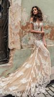 julie vino vestidos al por mayor-Julie Champagne Vino vestidos de novia 2020 Hombro profundo hundimiento de Vestidos de novia escote tren de barrido de novia de encaje vestido por encargo