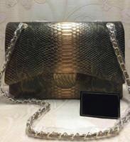 piel genuina de piel de serpiente al por mayor-2019 mujeres de calidad superior bolso de piel de serpiente de cuero genuino bolsos de diseñador de alta calidad bolsos de oro cadena de mujeres bolsos de hombro