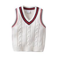 suéter de jersey de cuello v al por mayor-INS ropa para niños suéter con cuello en V de punto color sólido jersey jersey 100% algodón Boutique niña niño primavera otoño suéter