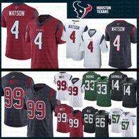 camisetas de la marina de guerra al por mayor-Texans 4 Deshaun Watson Jersey Hombres 99 J. J. Watt Houston 2019 nuevos Jets Adams Darnold Mosley Bell Texans Camisetas de fútbol Azul marino Rojo