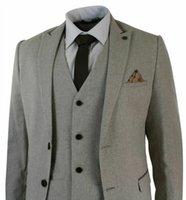 terno bege dos homens slim fit venda por atacado-Mens Herringbone Tweed 3 peça terno de veludo guarnição clássico Vintage Slim Fit Bege Prom terno formal (Jacket + Calças + Vest)