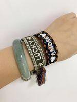 bordado de pulseira venda por atacado-Bijuterias marca para mulheres Handmade Cotton assinatura tecidos bordados tecido pulseira Bangle Tassel Lace-up Bracelet