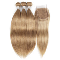 Wholesale honey brown hair weave for sale - Indian Straight Hair Bundles with Closure Human Hair Weave Color Blonde Honey Blonde Brown Auburn