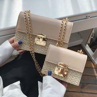 Wholesale small flip cell phones resale online - Flip Small Square bag Summer Fashion New High Quality Straw Women s Designer Handbag Lock Chain Shoulder Messenger bags