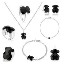 silberne ringe ketten großhandel-Fahmi 100% 925 Sterlingsilber-nette Bären-facettierte schwarze Achat-Ohrring-Armband-Halsketten-Ring-Anhänger Claviclekette Schmuck