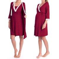 elegante nachthemden großhandel-Still-Pyjamas für die Schwangerschaft und Nachtwäsche Nachthemd Elegante Still-Still-Stillkleidung für die Schwangerschaft