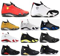 zapatos de caramelos rojos al por mayor-14 nuevos 14s Negro zapatos de punta del bastón de caramelo Doernbecher Fusión Varsity Red Suede baloncesto de los hombres Últimos trueno DMP las zapatillas de deporte del tiro con la caja de Indiglo