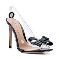 zapatos de fiesta bowtie al por mayor-2019 nuevos zapatos de diseñador sandalias de moda de bowtie de pvc negro sandalias de tacón de aguja de plata súper altas sandalias elegantes zapatos de fiesta de tacón alto para mujer