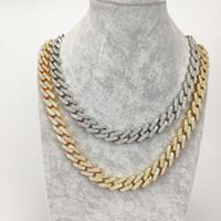collar de cadena de oro amarillo al por mayor-Hombres hip hop 18 K oro amarillo plateado oro Cuba Cubic Zircon collar de cadena de moda collar de tenis joyería del partido para mujeres hombres