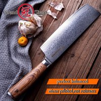 facas japonesas damasco venda por atacado-Grandsharp 6.7 Polegada Damasco Faca Nakiri Profissional Faca VG10 Japonês 67 camadas Damasco Facas De Cozinha De Aço com Caixa de Presente