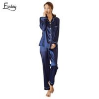 ropa de mujer al por mayor-Fioday Pijamas de satén de seda de invierno para mujer pijamas largos Loungewear Establece ropa de dormir de dos piezas Pijama de mujeres conjunto más el tamaño 5xl Q190513