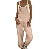 damen leinenhose großhandel-Sommer Womens Jumpsuit Leinen Long Playsuit Latzhose Harem Pants Damen Overall Jumpsuit Strampler Frauen 2019