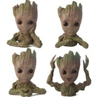 Wholesale desktop doll for sale - Guardians of The Galaxy Flowerpot Tree Man Baby Groot Action Figure Pen Container Doll Cute Model Christmas Toys OOA6292