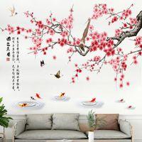 chinesische kalligraphie wand kunst großhandel-Chinesischen Stil Kalligraphie Elster auf Pfirsich Blumen Baum Wandtattoos Schmetterlingsfische im Pool Wandbild Kunst Wohnkultur Wandaufkleber